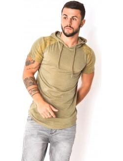 T-shirt capuche manches suédine