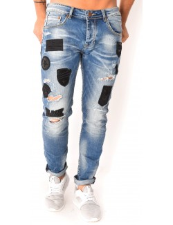 Jeans destroy à patchs