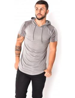 T-shirt avec cordons au cou avec épaules matelassées suédine