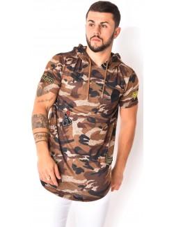 T-shirt capuche camouflage