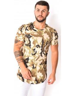 T-shirt camouflage en suédine