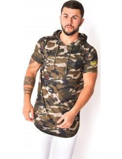 T-shirt camouflage à patchs