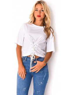 T-shirt cropped à lacets