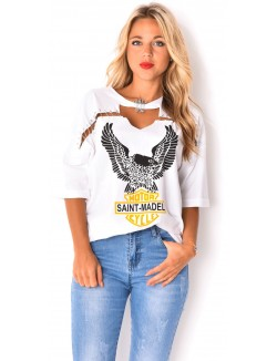 T-shirt à épingles motif aigle