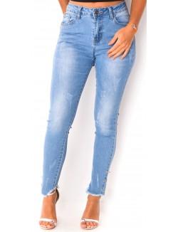 Jeans délavé à anneaux