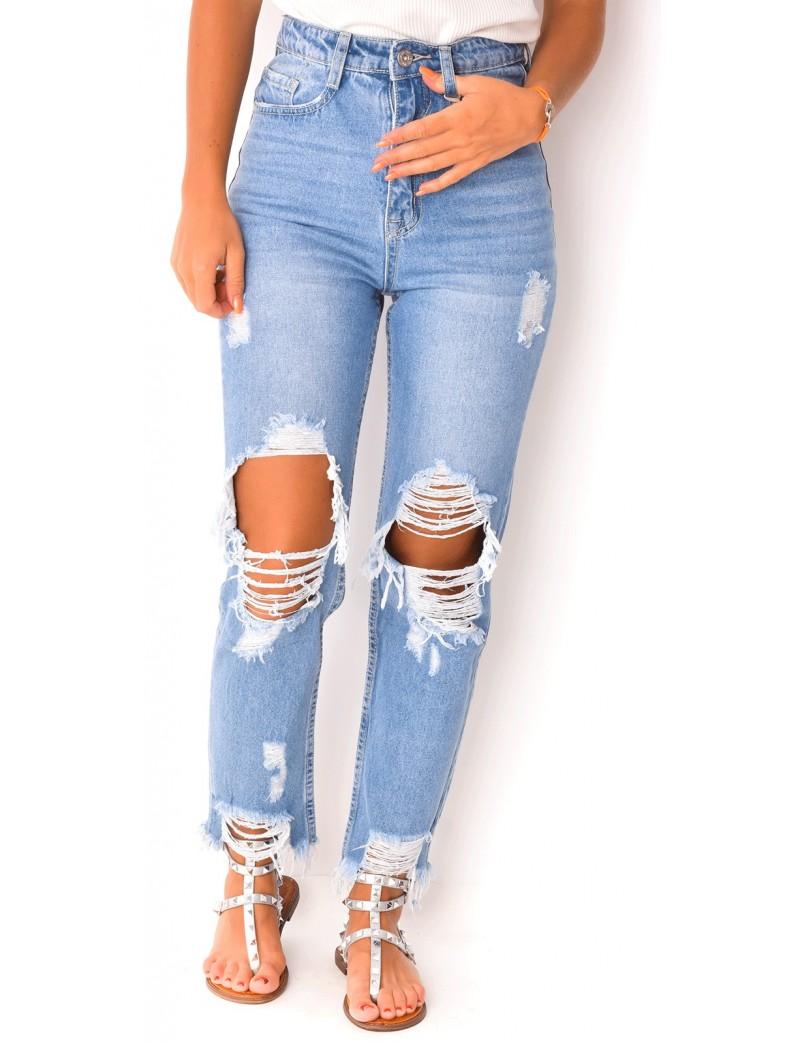 jeans femme boyfriend dechire pantalon jeans femme dechire casual style boyfriend pantalon jeans fem. Black Bedroom Furniture Sets. Home Design Ideas