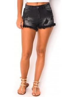 Short en jeans délavé à franges