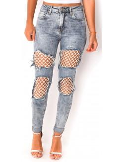 Jeans à empiècements résille