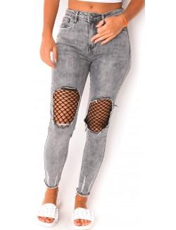 Jeans skinny destroy à résilles