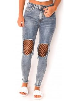 Jeans délavé à empiècements résilles