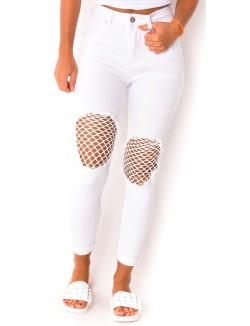 Jeans avec empiècements résille