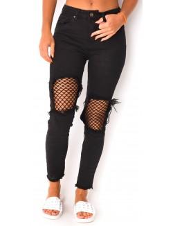 Jeans cropped à empiècements résille