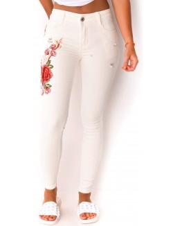 Jeans skinny blanc à broderies et perles