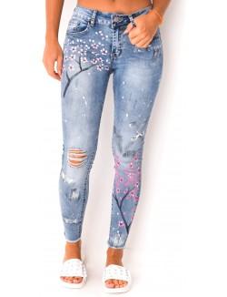 Jeans déchiré à fleurs