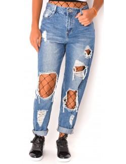 Jeans mom fit destroy et collants