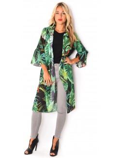 Kimono long à motif tropicaux