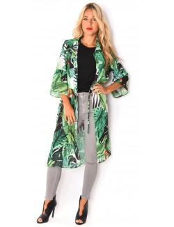 Kimonos long à motifs tropicaux