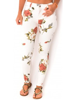 Jeans skinny blanc à fleurs