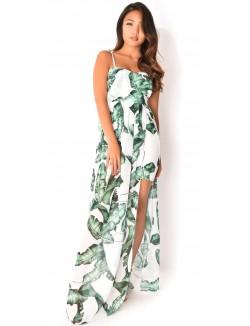 Robe bustier à voile motif feuilles