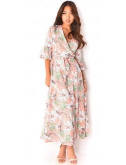 Kimono long à fleurs