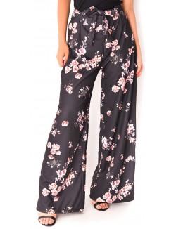 Pantalon taille haute à fleurs