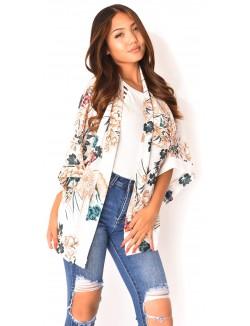 Kimono fluide à fleurs