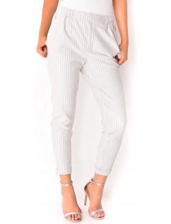 Pantalon tailleur à rayures
