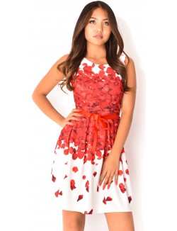 Robe motifs roses à ceinture satin