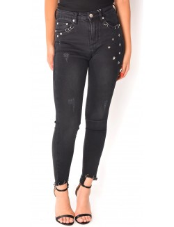 Jeans skinny cropped à anneaux et étoiles