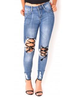 Jeans destroy à lacets