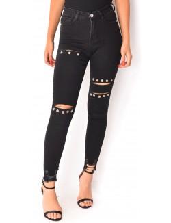 Jeans skinny destroy à oeillets
