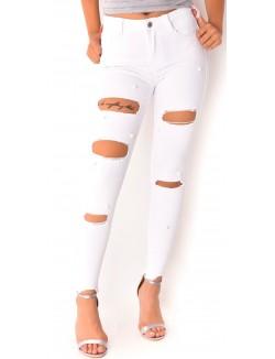 Jeans destroy à perles