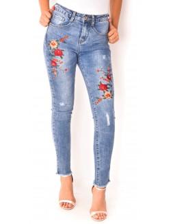 Jeans slim à broderies