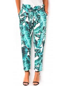 Pantalon fluide à motifs feuilles