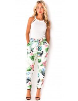 Pantalon fluide à motifs tropicaux
