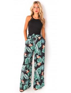 Pantalon à motifs tropicaux
