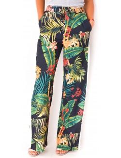 Pantalon à bandes et motifs tropicaux