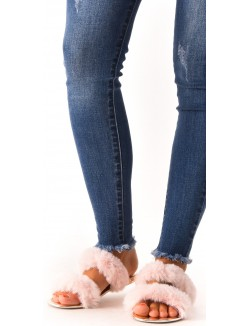 Sandales plates à fourrure