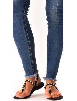 Sandales plates en suédine à clous