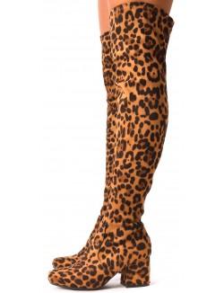 Cuissardes en suédine léopard