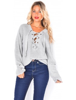 Pull ample lacé
