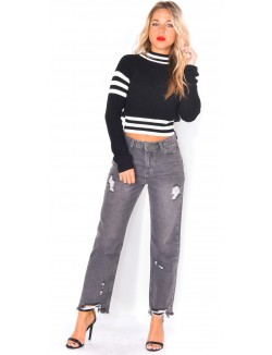 Jeans mom fit gris destroy