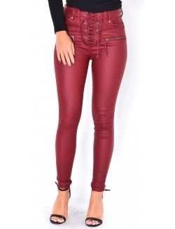 Pantalon taille haute enduit à lacets