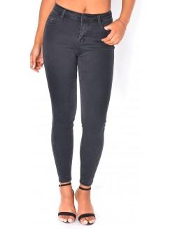 Jeans noir taille haute délavé