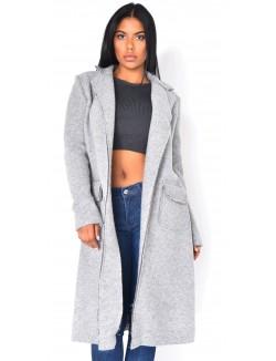 Manteau long en laine bouillit