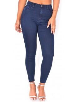 Jeans bleu brut taille haute