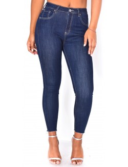 Jeans skinny bleu brut taille haute