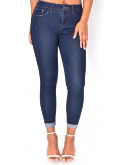 Jeans skinny taille haute bleu brut