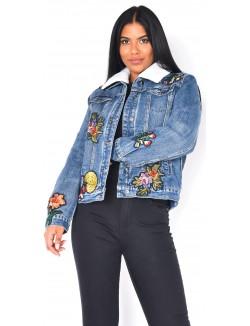 Veste en jeans fourrée à broderies