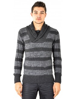 Pull homme col large à rayures anthracite